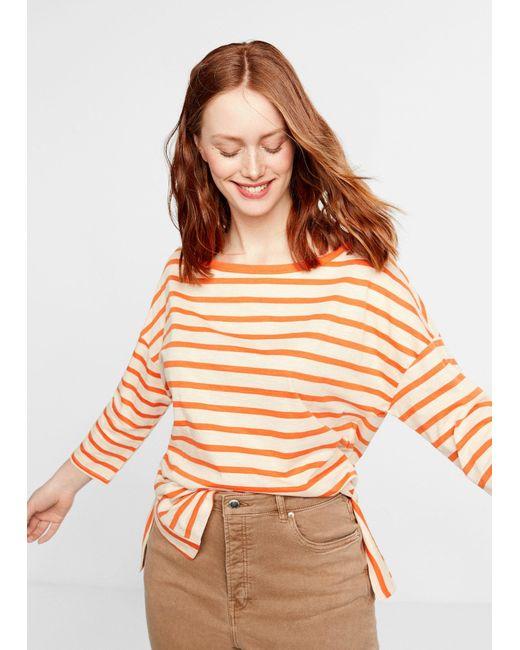 388c777da02 ... Violeta by Mango - Orange Stripes Organic Cotton T-shirt - Lyst ...