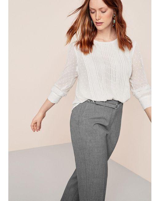 Violeta by Mango - Gray Belt Cotton-blend Pants - Lyst