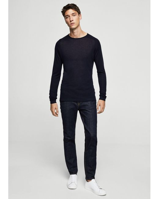 Mango | Blue Fine-knit Silk-blend Sweater for Men | Lyst