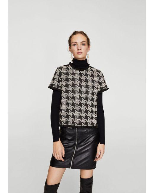 Mango - Black Houndstooth T-shirt - Lyst
