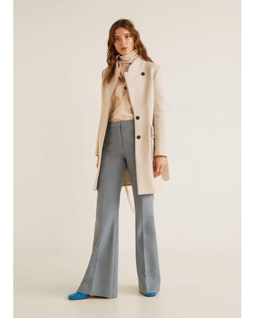 ... Mango - Brown Belted Wool Coat - Lyst ... 5ba330668