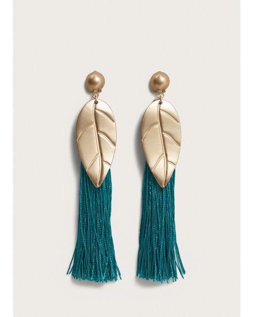 Violeta by Mango - Green Metal Leaf Fringed Earrings - Lyst