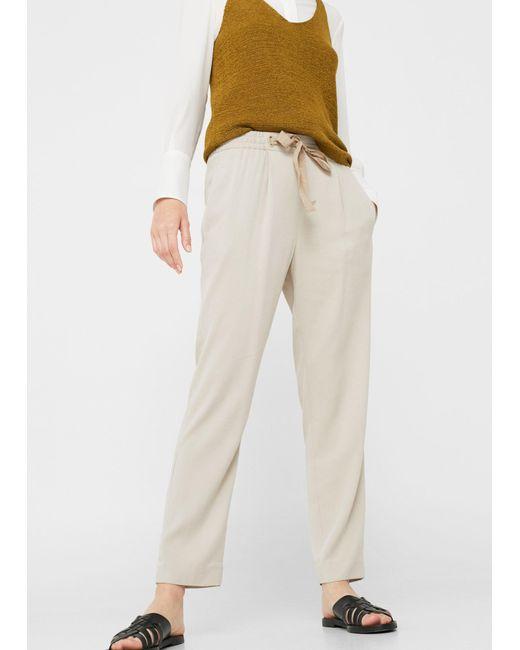 Mango   Natural Soft Crop Trousers   Lyst