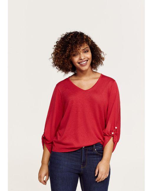 Violeta by Mango - Red Piercing Detail Sweater - Lyst