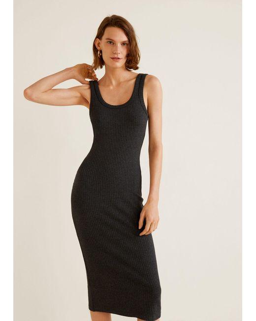 Mango - Multicolor Ribbed Jersey Dress - Lyst