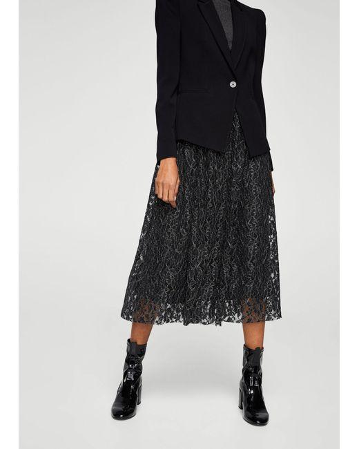 Mango | Black Metal Thread Lace Skirt | Lyst