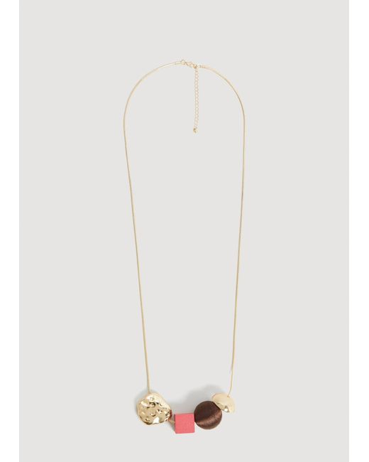 Mango - Metallic Mixed Piece Necklace - Lyst