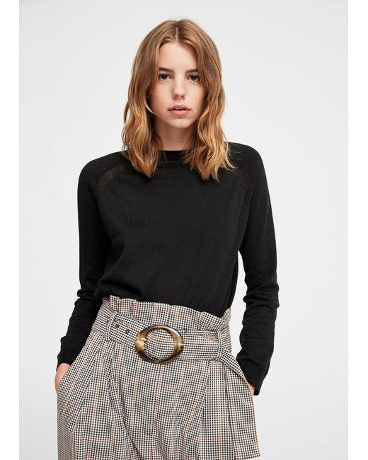 Mango | Black Decorative Seams Cotton Sweater | Lyst