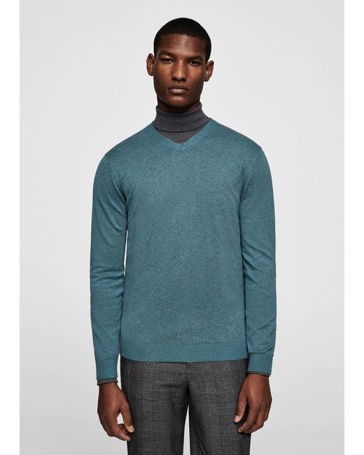 Mango | Green Textured Cotton Cashmere-blend Sweater for Men | Lyst