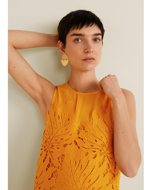 Mango - Yellow Guipure Appliqué Dress - Lyst