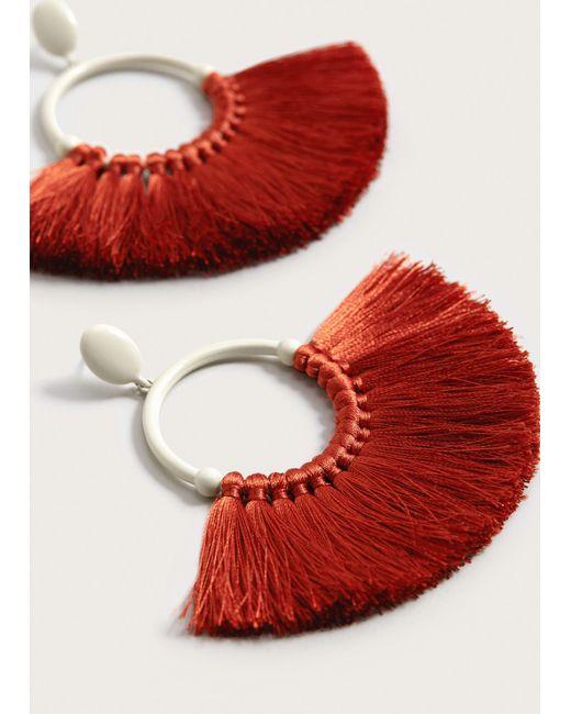 Violeta by Mango | Orange Tassels Hoop Earrings | Lyst