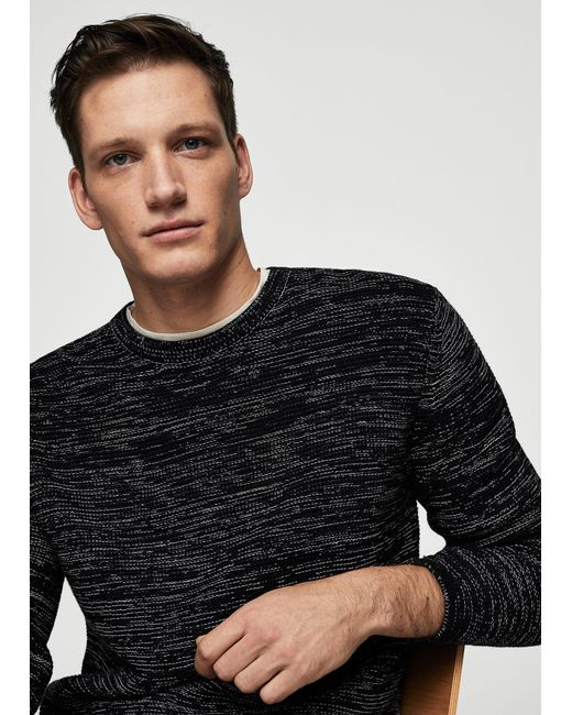 Mango - Black Flecked Cotton-blend Sweater for Men - Lyst
