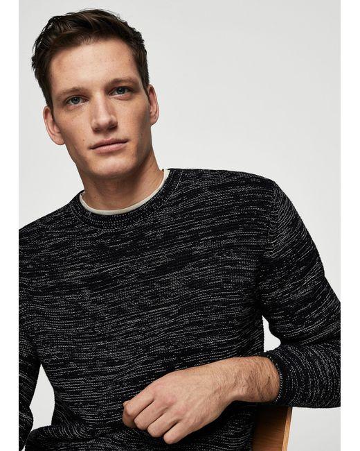 Mango | Black Flecked Cotton-blend Sweater for Men | Lyst