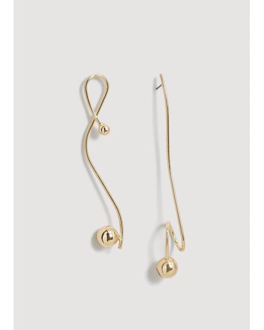 Mango - Metallic Asymmetric Earrings - Lyst