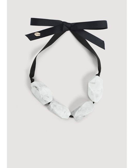 Mango - White Mixed Piece Necklace - Lyst