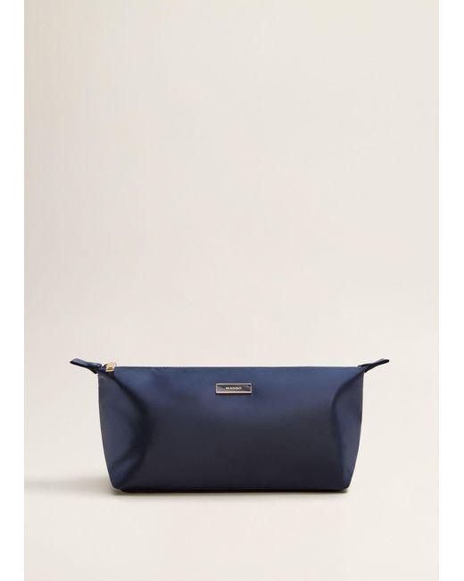 Mango - Blue Satined Effect Cosmetic Bag - Lyst