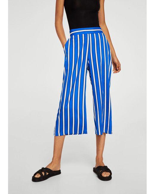 Mango - Blue Printed Crop Trousers - Lyst