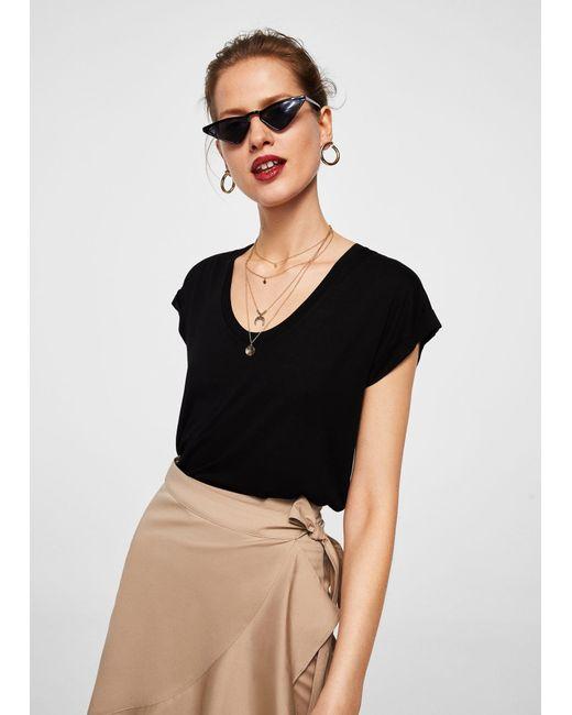 Mango - Black Mercerised T-shirt - Lyst