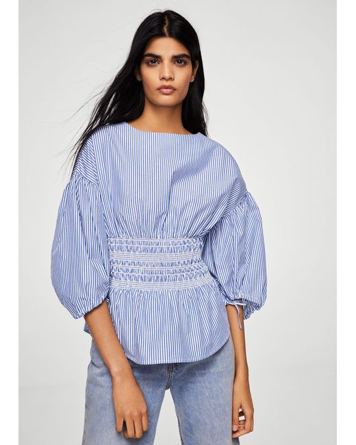 Mango - Blue Ruched Detail Striped Blouse - Lyst