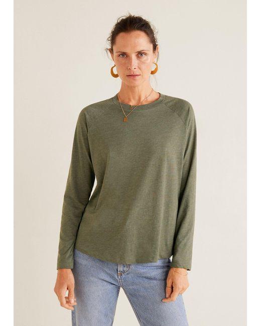 Mango - Natural Organic Cotton T-shirt - Lyst