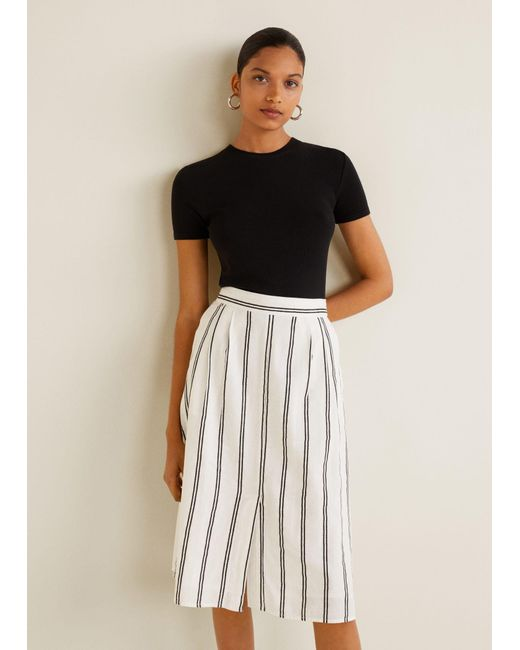4a492dcd5 Mango - White Striped Cotton Skirt - Lyst ...
