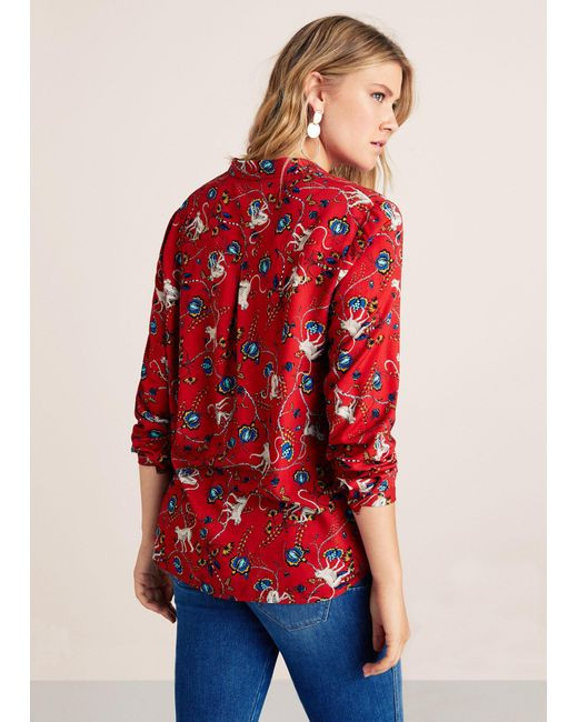 8a363356448ac1 ... Violeta by Mango - Red Printed Flowy Shirt - Lyst ...