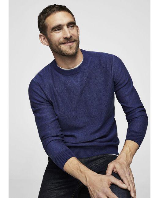 Mango | Blue Textured Cotton Sweater for Men | Lyst