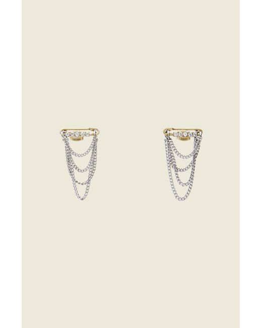 Marc Jacobs | Metallic Safety Pin Layered Chain Studs | Lyst