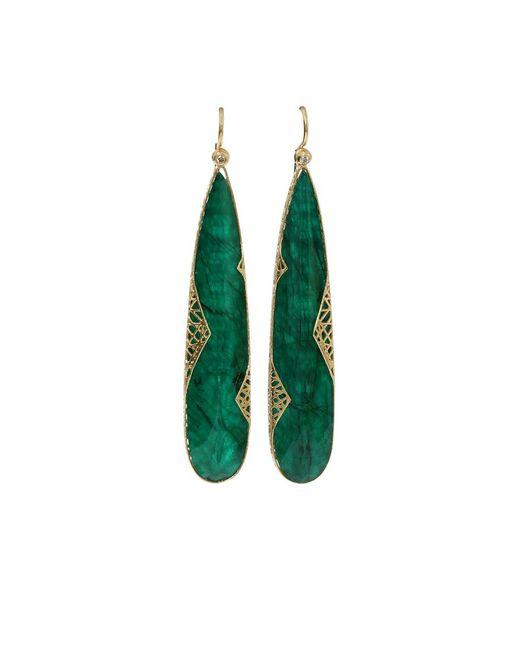 Yossi Harari - Metallic Emerald Slice Lace Earrings - Lyst