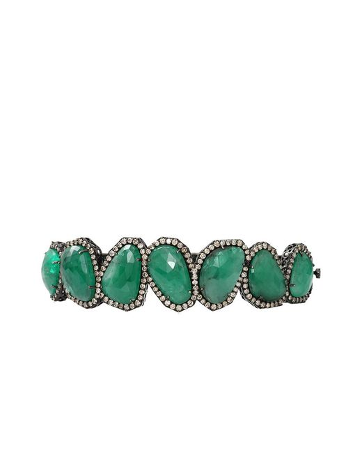 Sutra - Green Sliced Emerald And Diamond Bracelet - Lyst