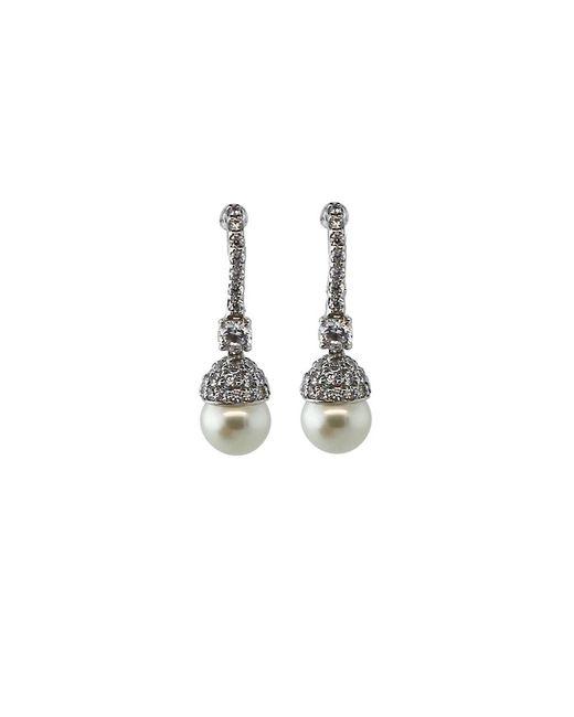 Fantasia Jewelry   Metallic Pave Pearl Drop Earrings   Lyst