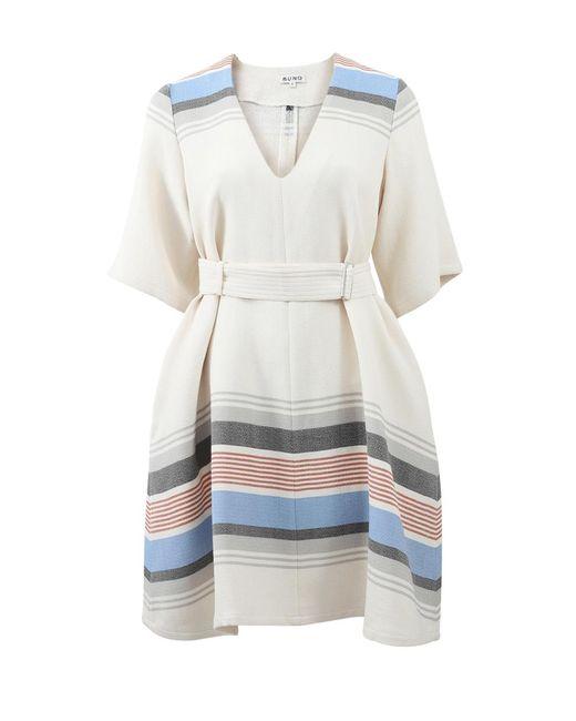Suno | White Belted Woven Stripe Dress | Lyst