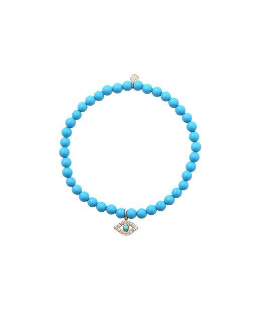 Sydney Evan | Blue Diamond, Turquoise & 14k Rose Gold Open Triangle Beaded Stretch Bracelet | Lyst