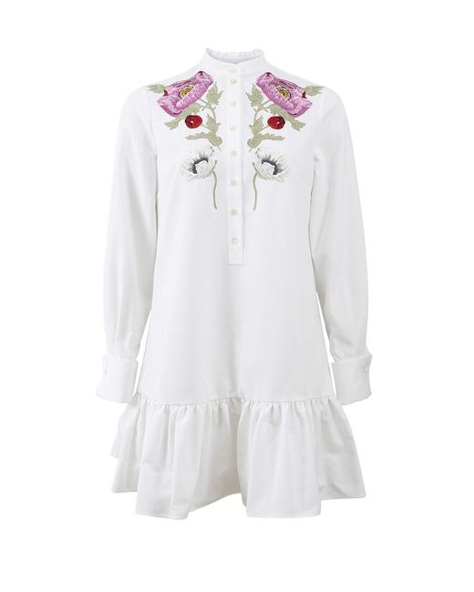 Alexander McQueen | White Floral Embroidered Dress | Lyst