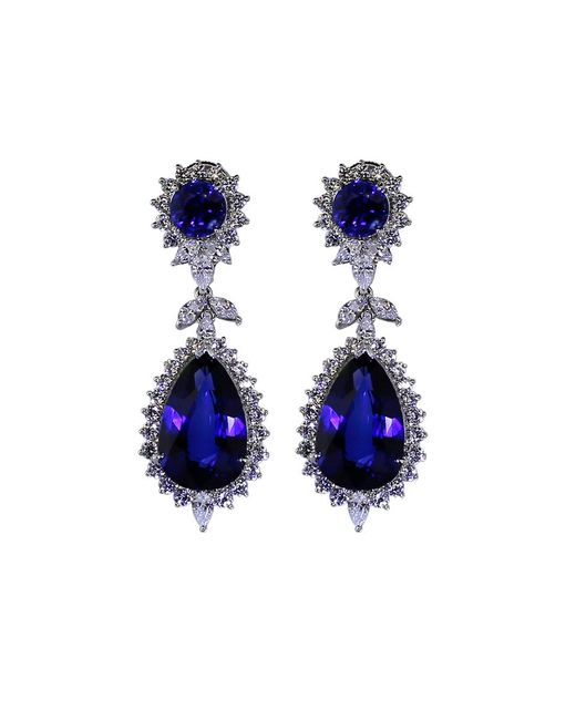 Fantasia Jewelry | Blue Round And Pear Drop Marquis Earrings | Lyst
