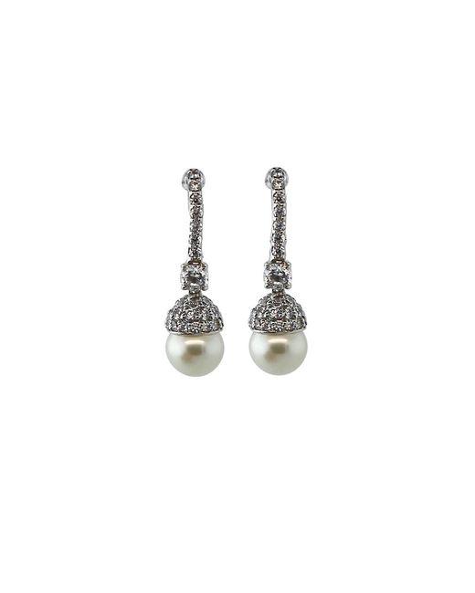 Fantasia Jewelry | Metallic Pave Pearl Drop Earrings | Lyst