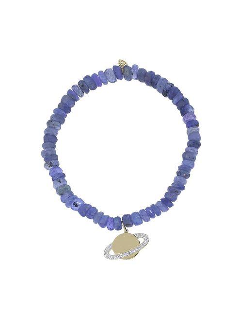 Sydney Evan | Diamond Saturn Blue Tanzanite Rondelle Beaded Bracelet | Lyst