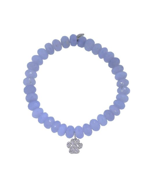 Sydney Evan | Diamond Dog Paw Light Blue Chalcedony Beaded Bracelet | Lyst