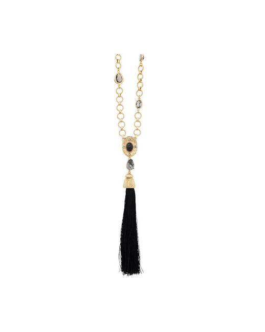Oscar de la Renta | Black Crystal & Resin Tassel Necklace | Lyst