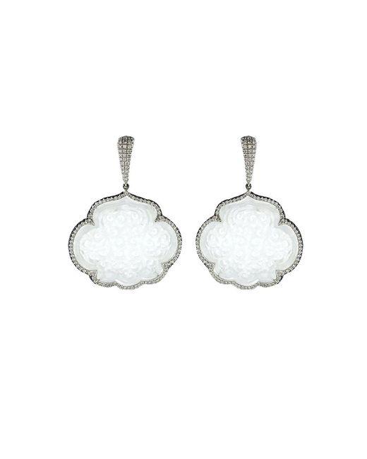 Inbar | Carved White Jade Cloud Earrings | Lyst