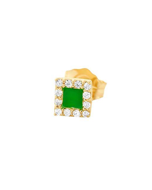 Alison Lou | Green Enamel And Diamond Stud | Lyst