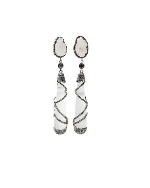 Colette - White Quartz Drop Earrings - Lyst