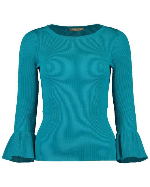 Michael Kors Blue Ruffle Cuff Ribbed Top