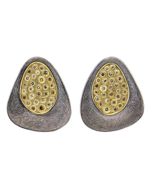 Todd Reed - Metallic Cognac Diamond Silver Stud Earrings - Lyst