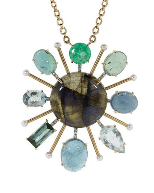 Irene Neuwirth - Multicolor Tourmaline Labradorite And Emerald Pendant Necklace - Lyst