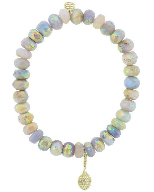Sydney Evan | Multicolor Diamond Pave Tennis Raquet Charm Bracelet | Lyst