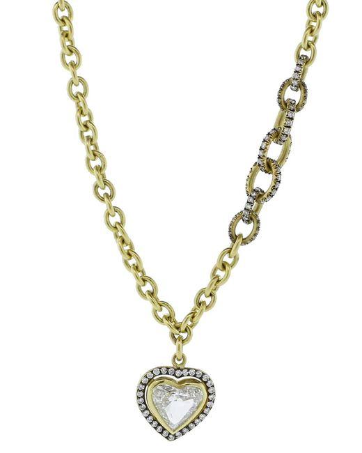 Sylva & Cie | Metallic Heart Shaped Pendant Necklace | Lyst