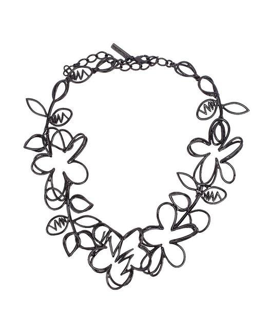 Oscar de la Renta - Black Botanical Scribble Necklace - Lyst