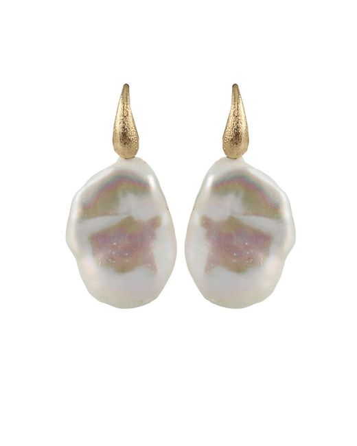 Yvel | Metallic White Baroque Fresh Water Pearl Earrings | Lyst