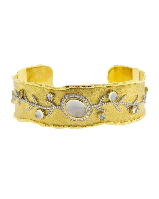 Victor Velyan - Multicolor Moonstone And Diamond Cuff Bracelet - Lyst